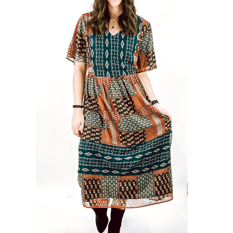 Olive Mix Pattern Dress