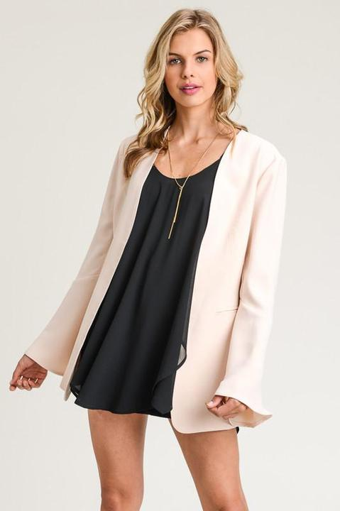 Taupe Bell Sleeve Blazer