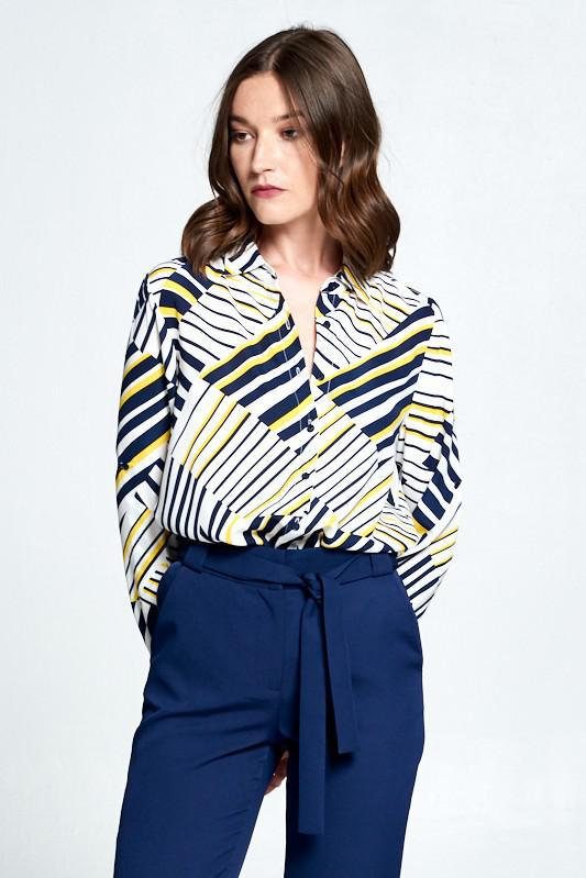Navy + Yellow Abstract Blouse