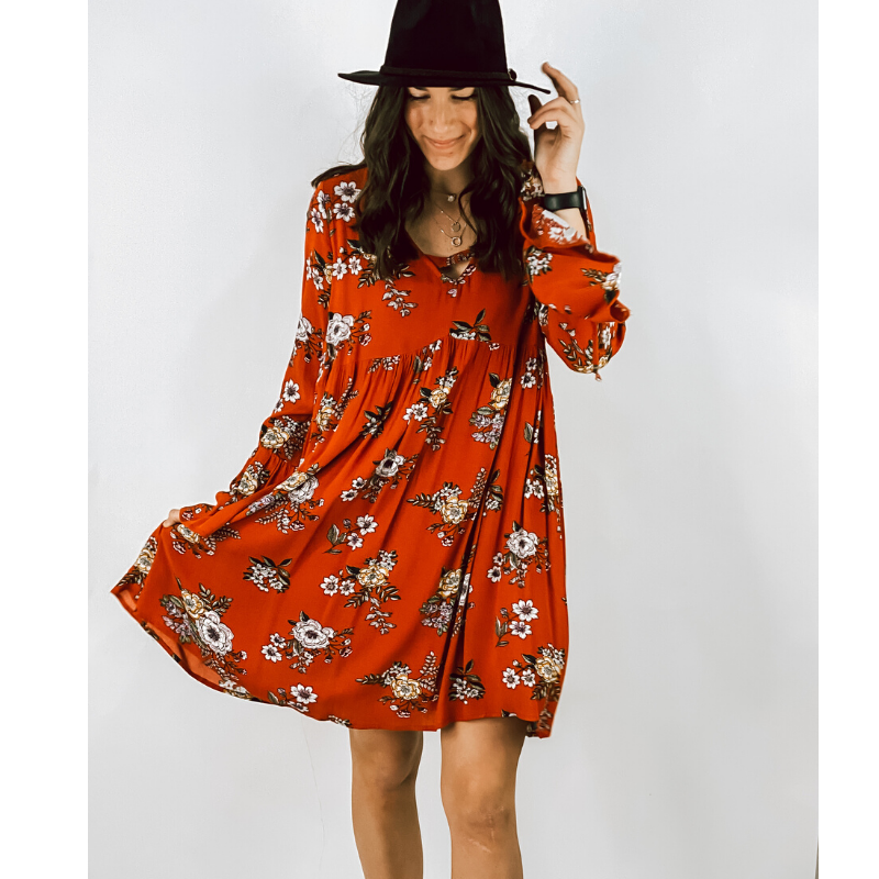 Rust Emma Floral Dress