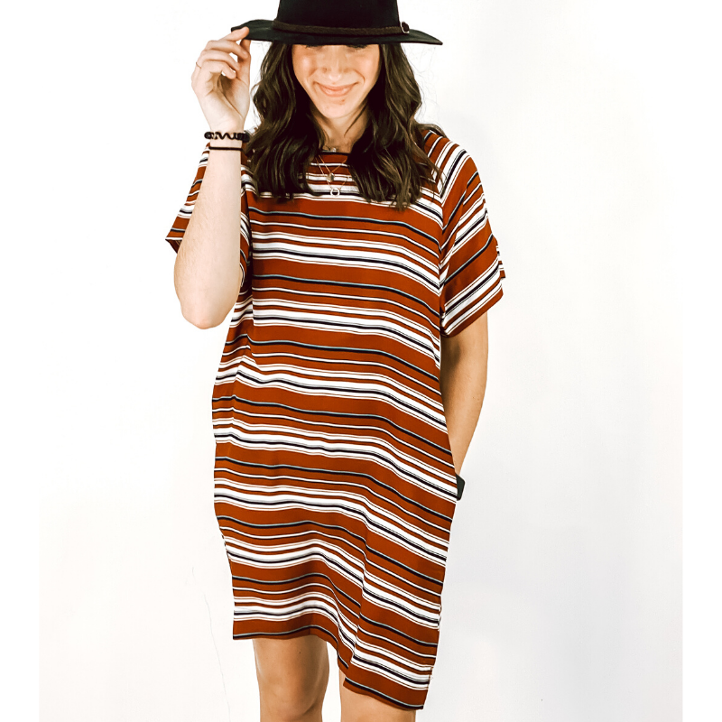 Rust Striped Woven Dress