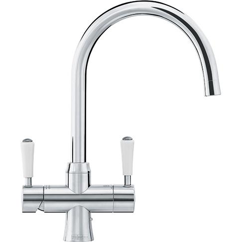 Omni Classic 4 In 1 Kettle Tap Stainless Steel Swivel Spout W/White Handles