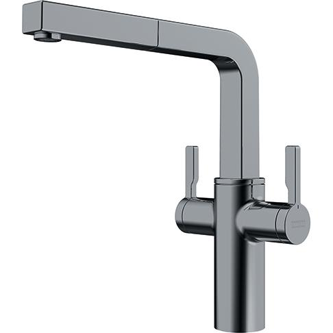 Frames Twin Lever Tap Decor Steel Pull Out Nozzle