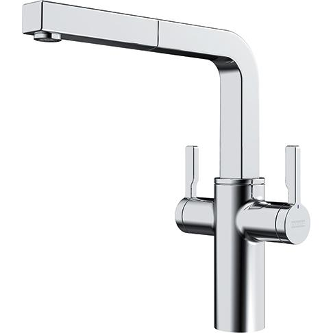 Frames Twin Lever Tap Chrome Swiver Spout