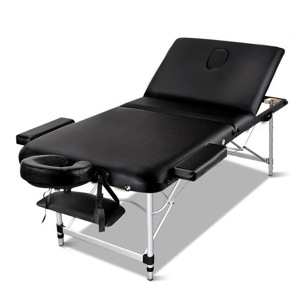 Zenses 70cm Wide Portable Aluminium Massage Table 3 Fold Treatment Beauty Therapy Black