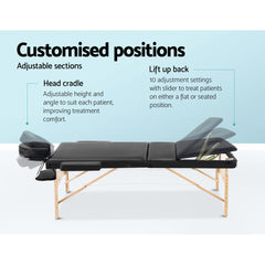 Zenses 75cm Wide Portable Wooden Massage and Treatment Table - 3 Fold