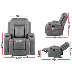 Artiss Recliner Chair Electric Massage Chair - Fabric Lounge Sofa Heated