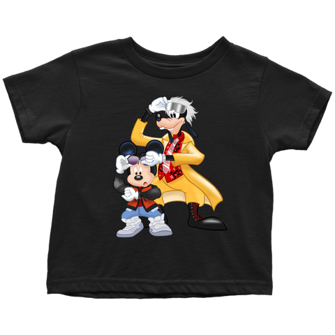 MICKFLY 2 - Mickey Mouse as Marty McFly and Goofy as Doc Brown Toddler T-Shirt