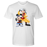 MICKFLY 2 - Mickey Mouse as Marty McFly and Goofy as Doc Brown Mens T-Shirt