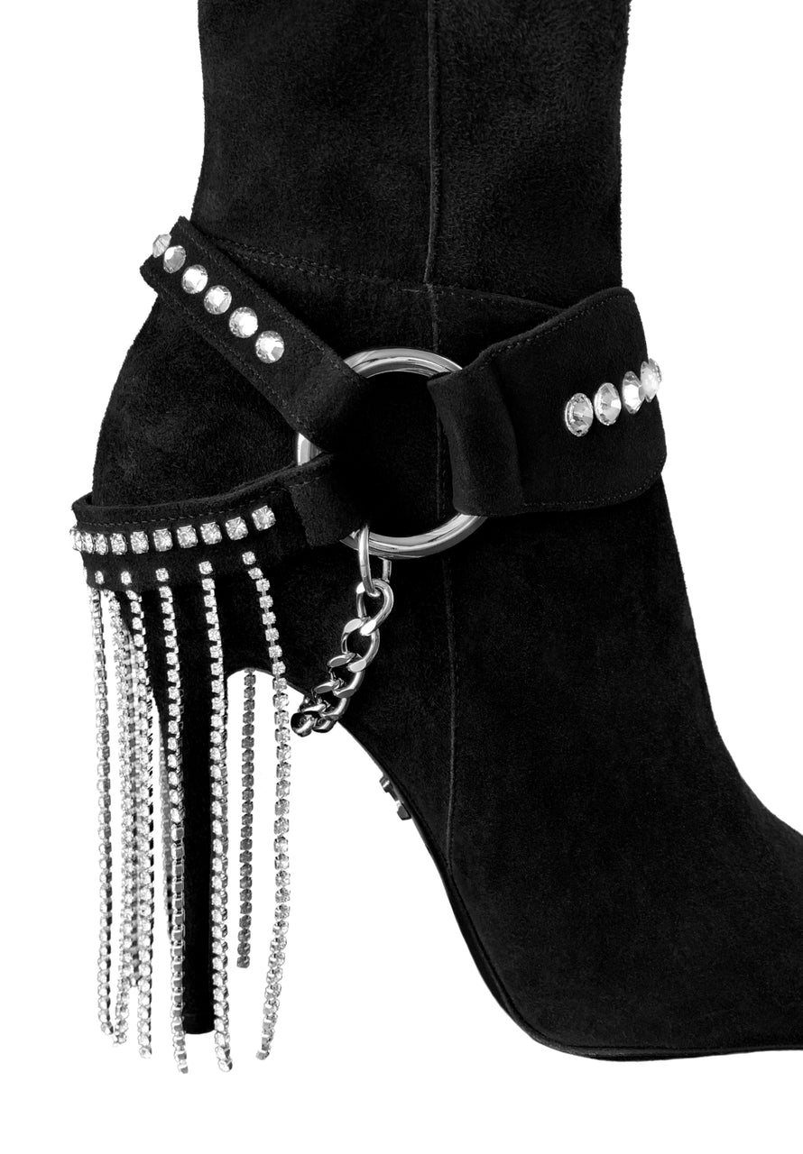 LACIA I CRYSTAL FRINGE STRETCH SUEDE THIGH-HIGH BOOT - Monika Chiang