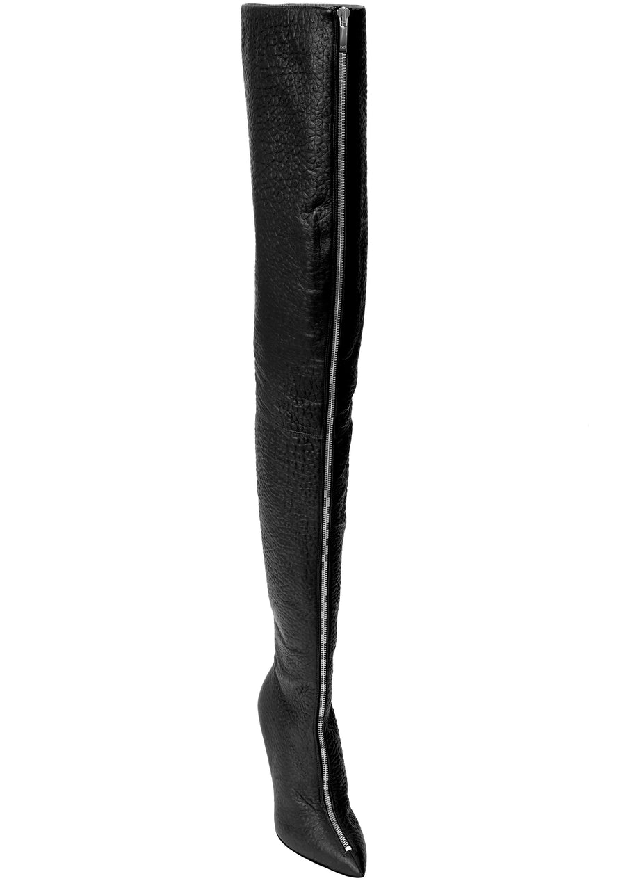 BLAIR BLACK LEATHER THIGH BOOT - Monika Chiang