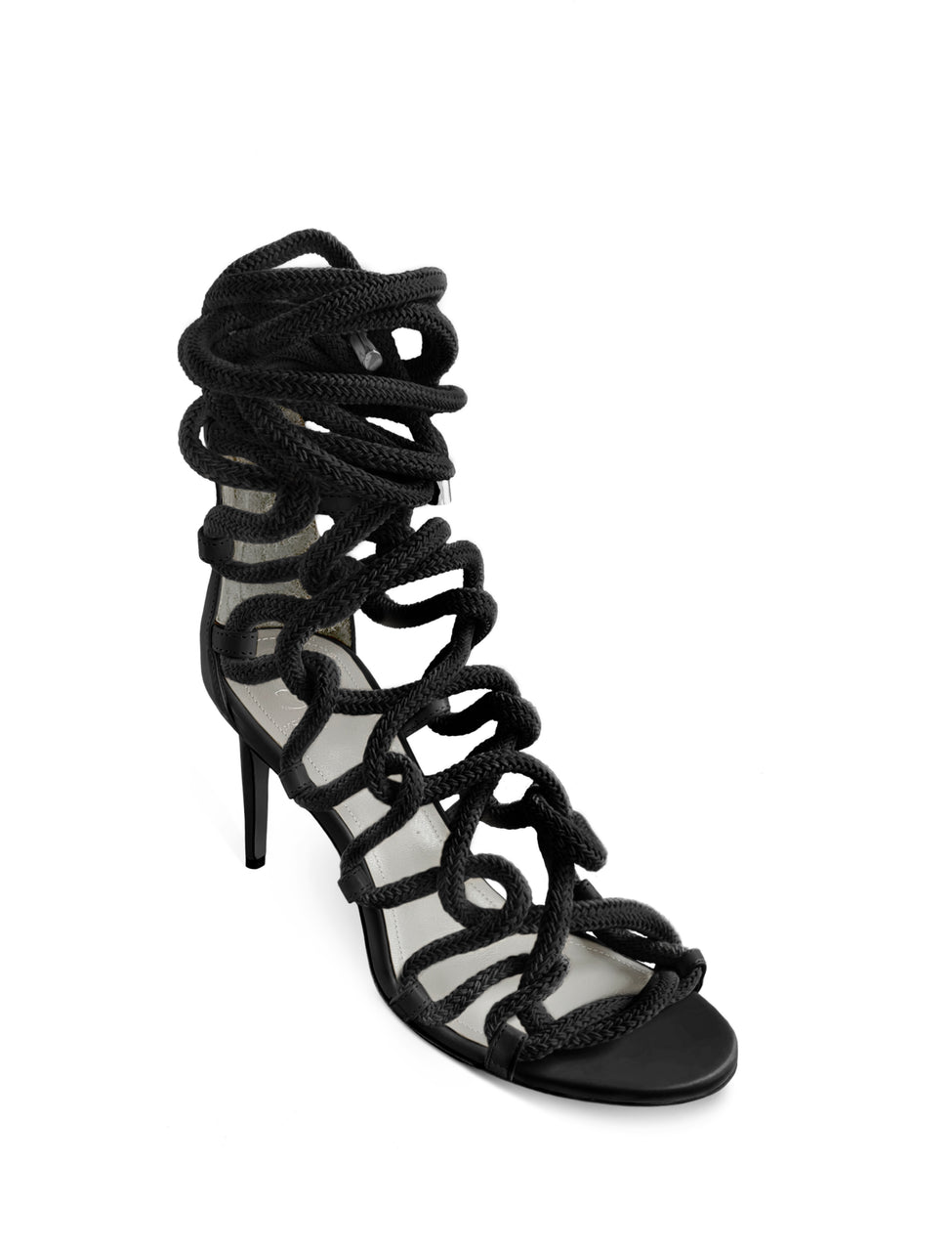 CARLA 80 BLACK CALF & ROPE SANDAL