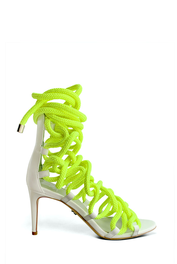 CARLA 80  &  WHITE & NEON YELLOW ROPE SANDAL - Monika Chiang