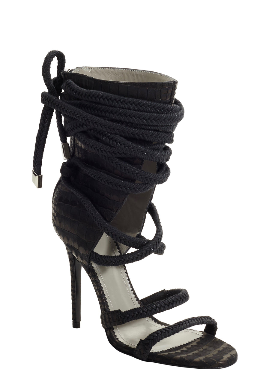 COSIMA BLACK EMBOSSED LEATHER SANDAL - Monika Chiang