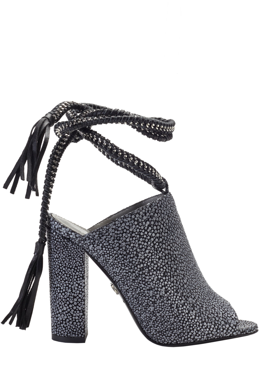 DANIA CHARCOAL EMBOSSED LEATHER SANDAL - Monika Chiang