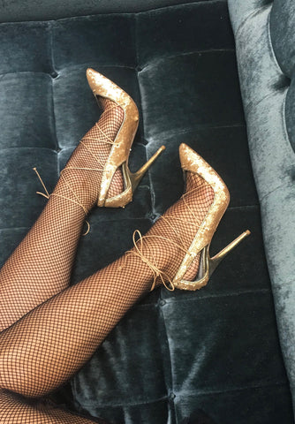 MASHA GOLD SEQUIN LACE-UP PUMP