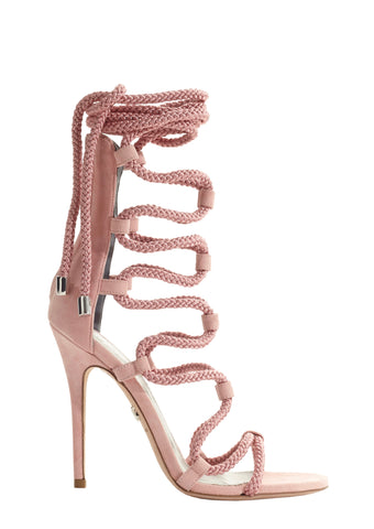 VESTA SILVER MESH LEATHER SANDAL
