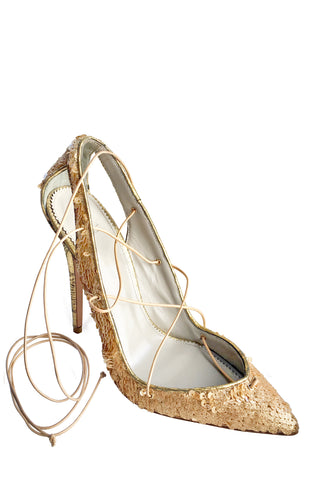 MASHA GOLD SEQUIN LACE-UP PUMP - Monika Chiang