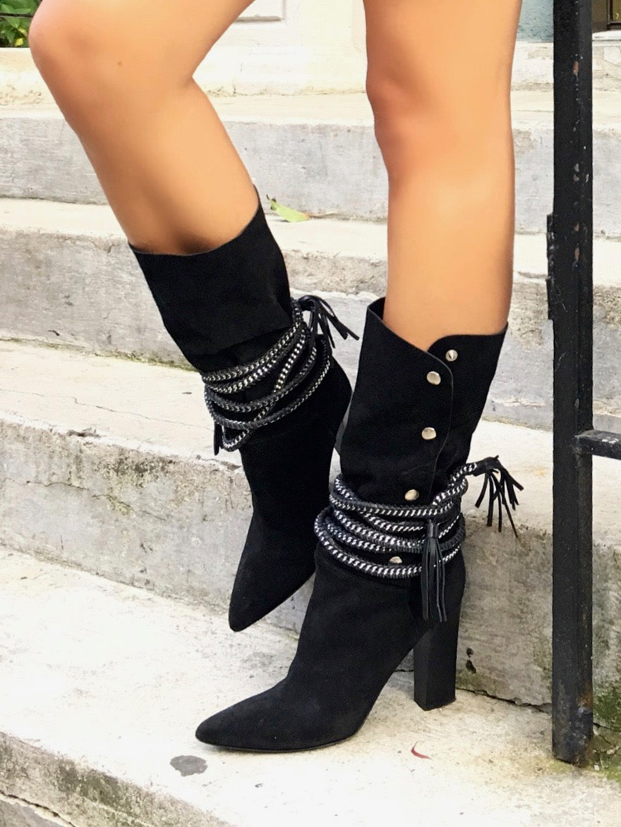 DIONNA BLACK SUEDE BOOT - Monika Chiang