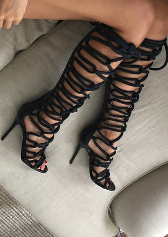 62d50588b64 Thigh High Rope Sandals   Gladiator Sandals