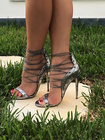 LARA SILVER LACE-UP SANDAL - Monika Chiang