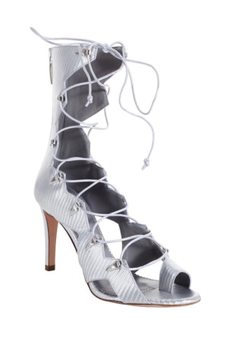 VESTA SILVER MESH LEATHER SANDAL - Monika Chiang