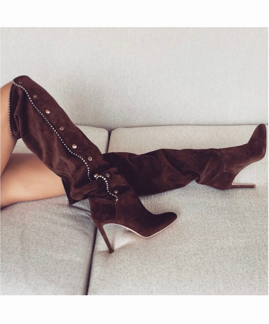 MAZUR CHOCOLATE SUEDE CRYSTAL BOOT - Monika Chiang