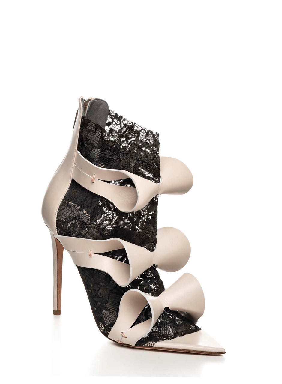 ALIX NUDE LEATHER & BLACK LACE SANDAL - Monika Chiang