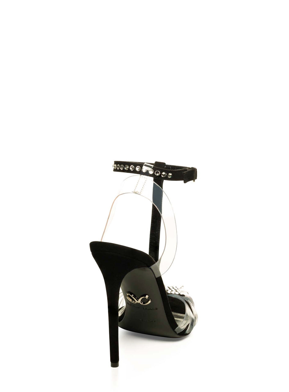 SOLANGE CRYSTAL EMBELLISHED BLACK SUEDE & PVC PUMP
