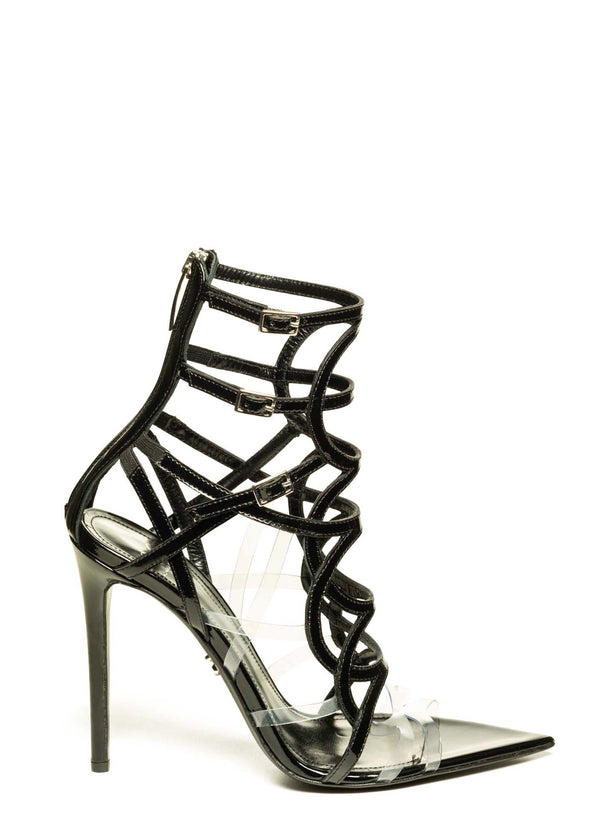 INES BLACK PATENT LEATHER & PVC SANDAL - Monika Chiang