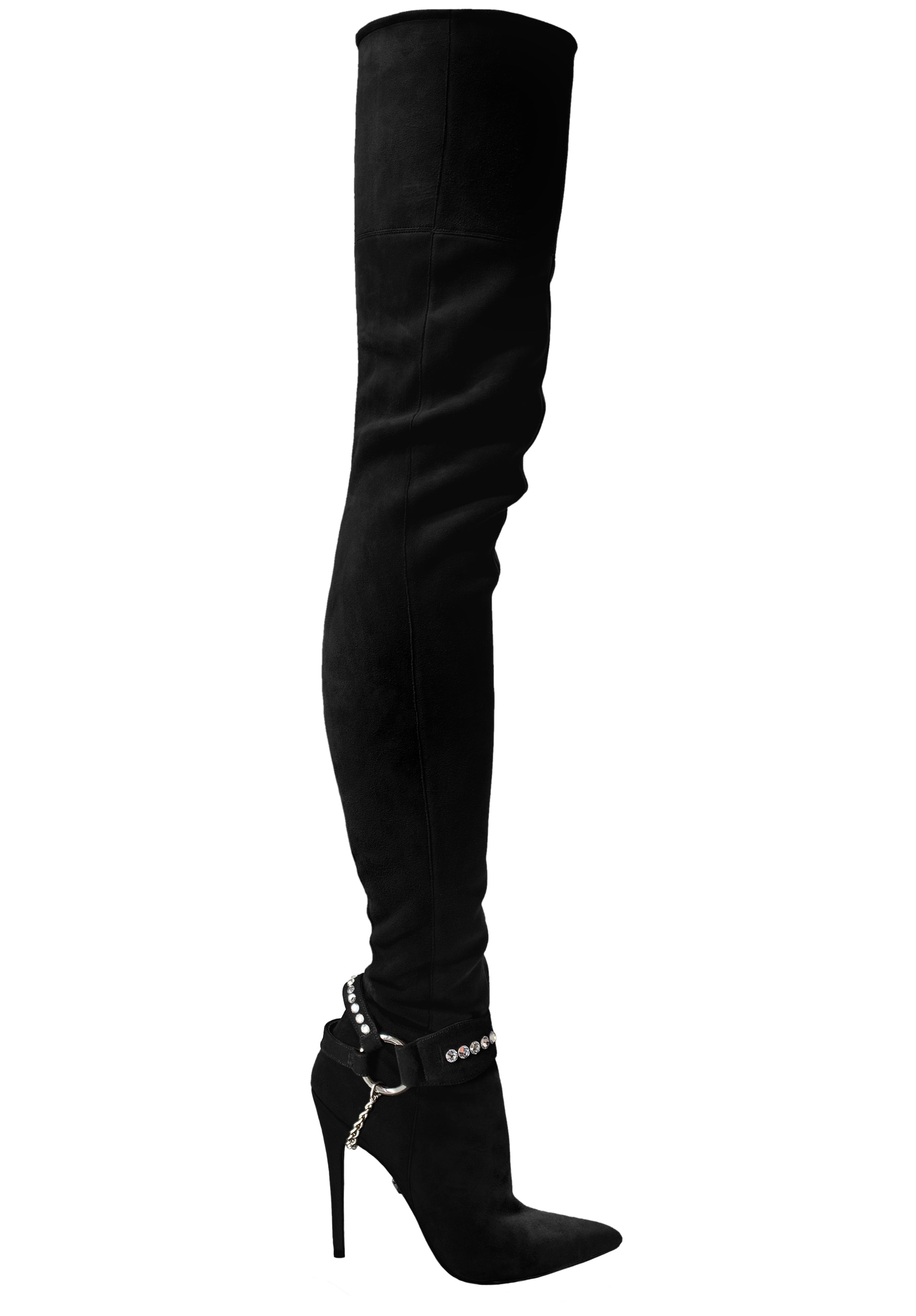 LACIA II CRYSTAL-EMBELLISHED   STRETCH SUEDE THIGH BOOT PRE-ORDER - Monika Chiang
