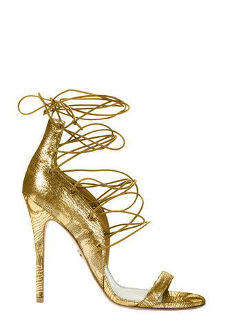 LARA GOLD LACE-UP SANDAL - Monika Chiang