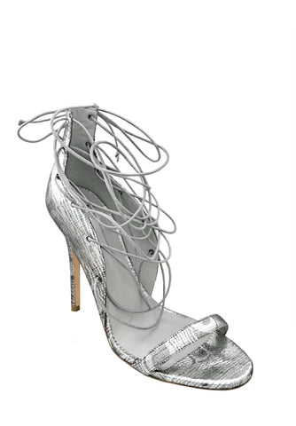 LARA SILVER LACE-UP SANDAL