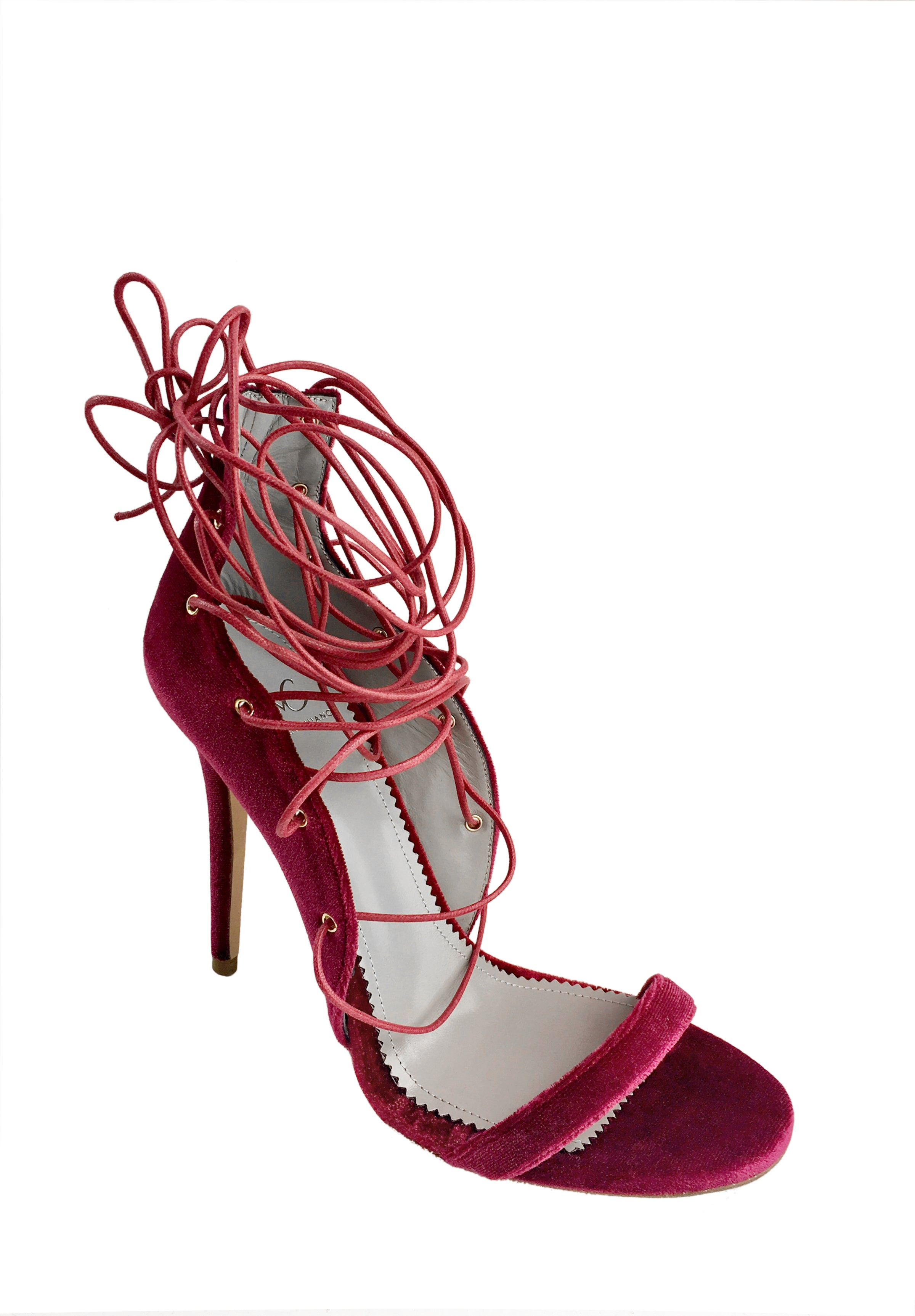 LARA WINE VELVET LACE-UP SANDAL - Monika Chiang