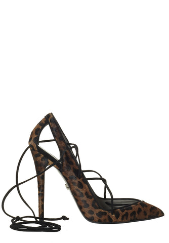 MASHA LEOPARD-PRINT CALF HAIR LACE-UP PUMP - Monika Chiang