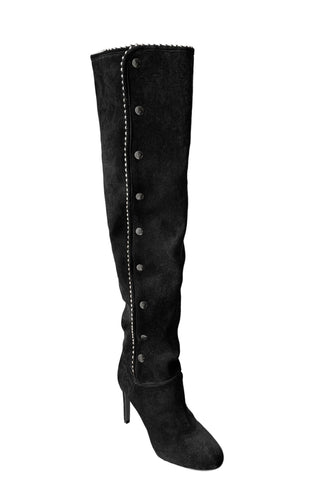 MAZUR BLACK SUEDE & CRYSTAL BOOT - Monika Chiang