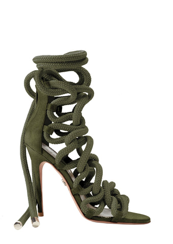 LARA WINE VELVET LACE-UP SANDAL