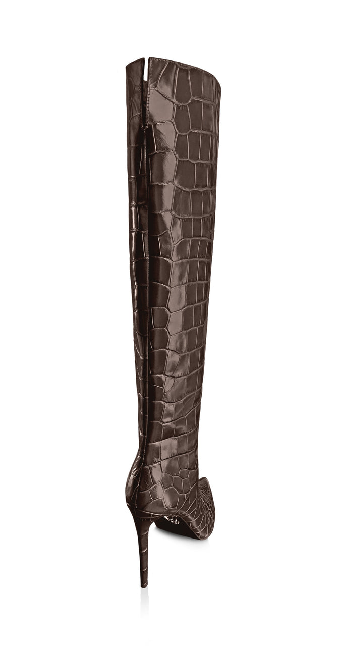 NORA OAK CROC-EFFECT KNEE BOOT