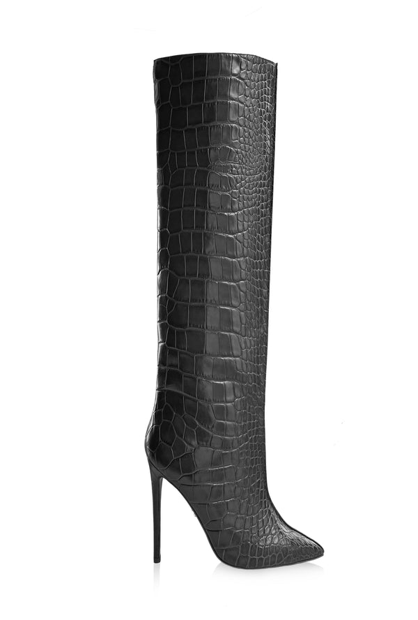 NORA BLACK CROC-EFFECT KNEE BOOT