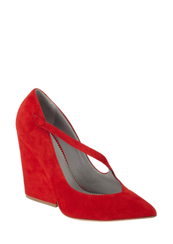 PALOMA RED SUEDE PUMP - Monika Chiang