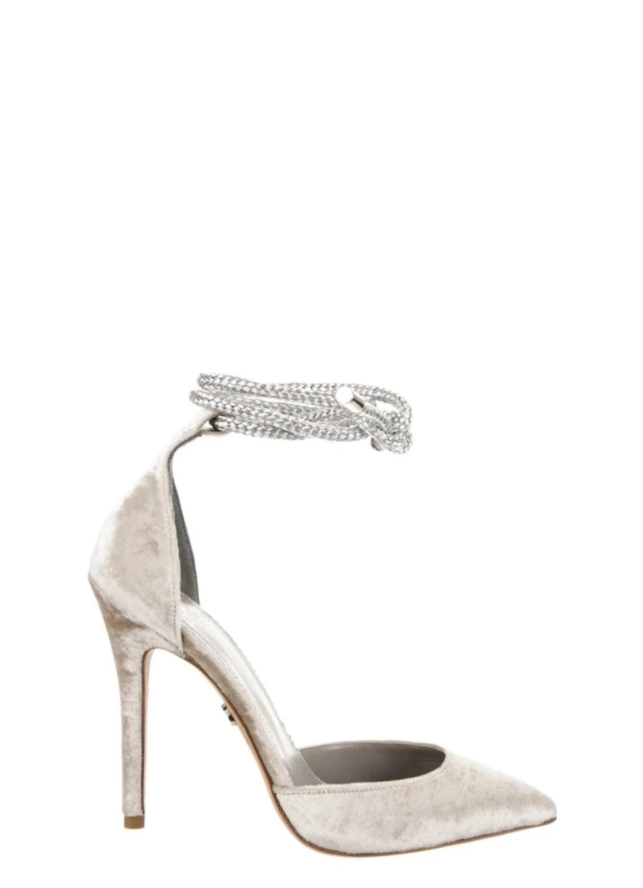 RAZA LIGHT GRAY VELVET PUMP - Monika Chiang