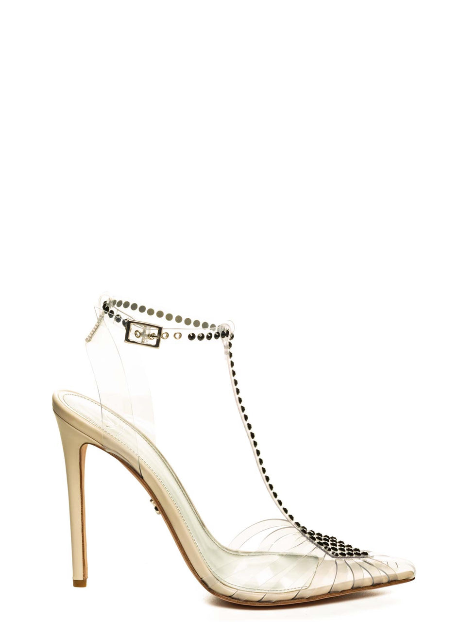 SOLANGE BLACK CRYSTAL EMBELLISHED NUDE CALF & PVC PUMP