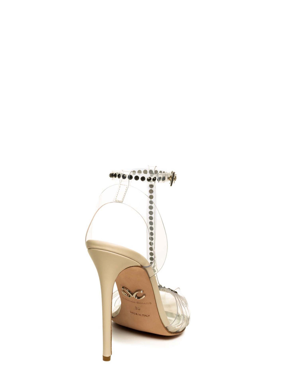 SOLANGE BLACK CRYSTAL EMBELLISHED NUDE CALF & PVC PUMP - Monika Chiang
