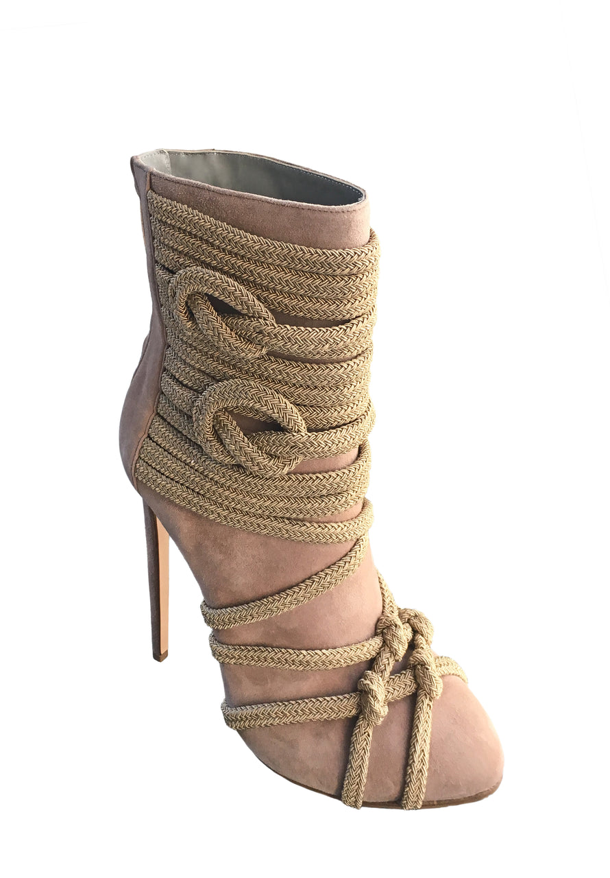 TALIA TAUPE SUEDE & ROPE ANKLE BOOT - Monika Chiang