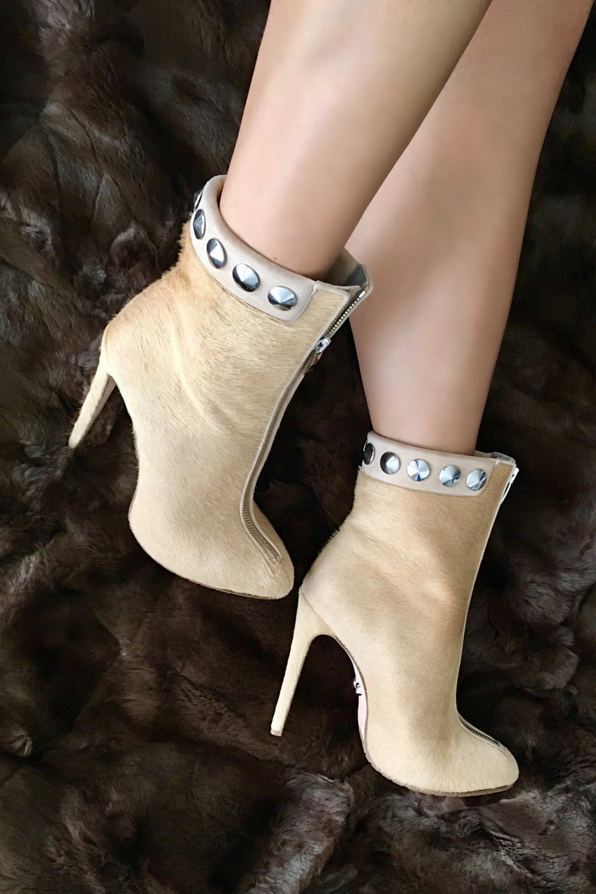 TRAINA CAMEL CALF HAIR ANKLE BOOT - Monika Chiang