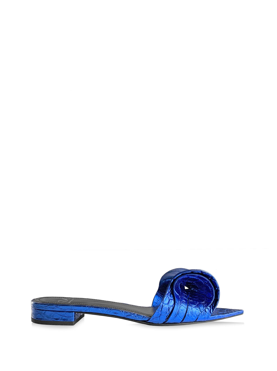 VITA METALLIC BLUE CROC-EFFECT SANDAL