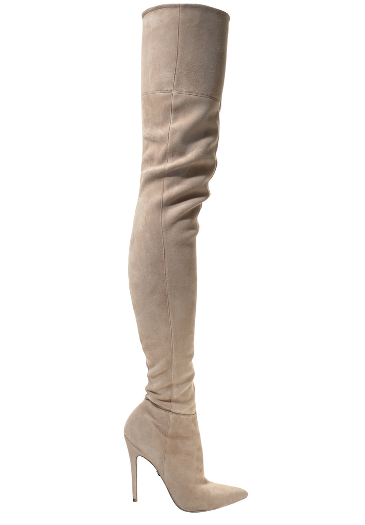LACIA CREAM SUEDE THIGH BOOT - Monika Chiang