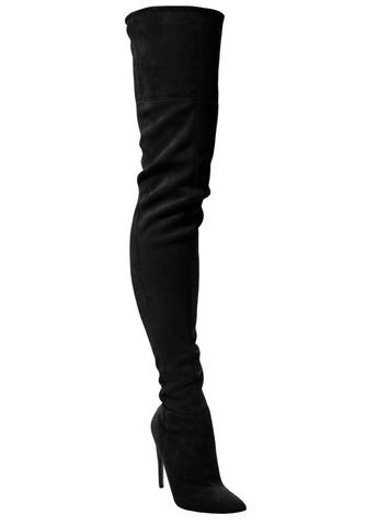 LACIA BLACK STRETCH SUEDE THIGH BOOT - Monika Chiang