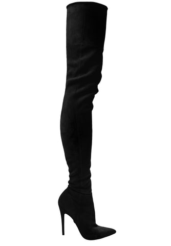LACIA BLACK STRETCH SUEDE THIGH-HIGH BOOT - Monika Chiang