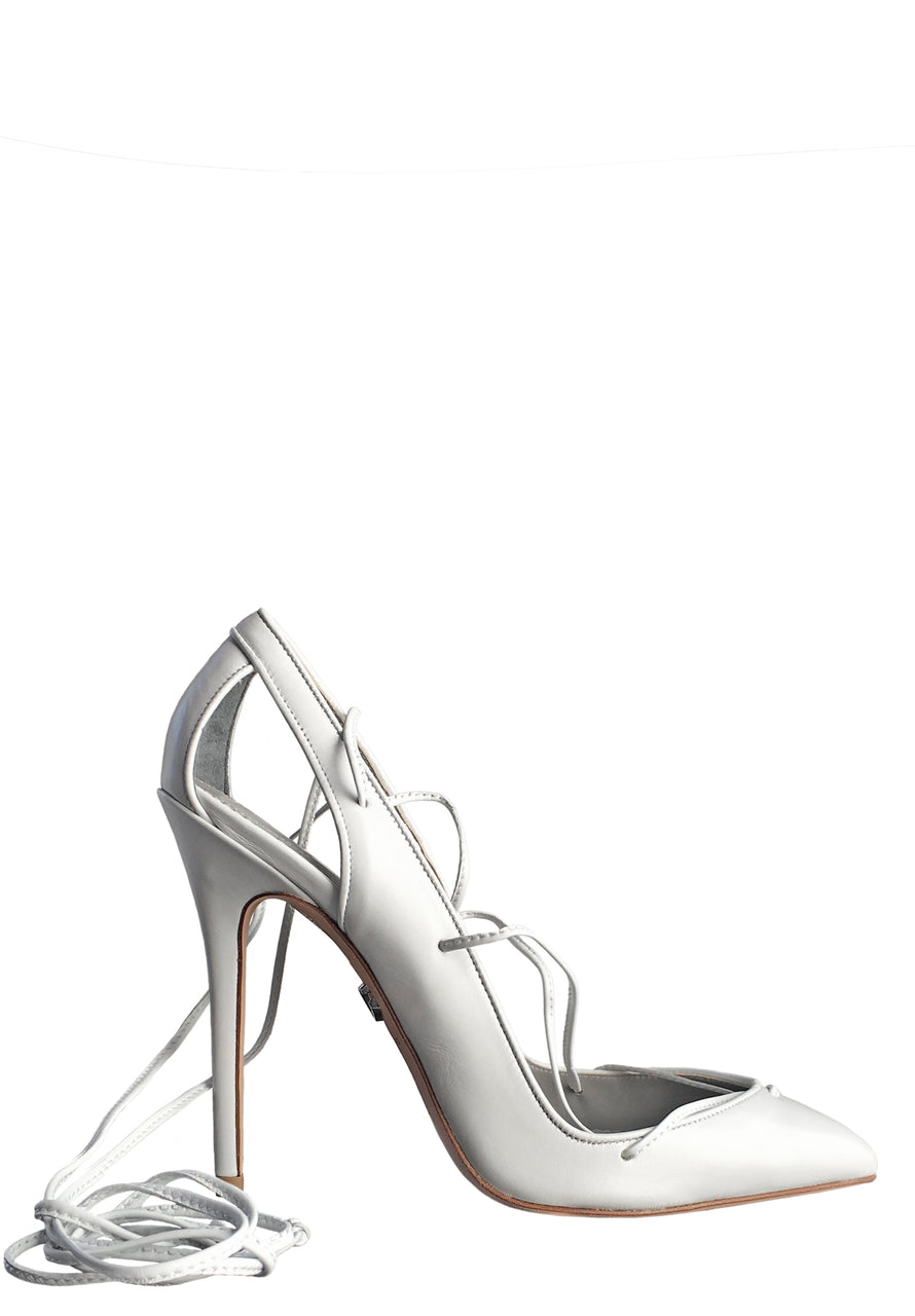 MASHA WHITE CALF LACE-UP PUMP - Monika Chiang